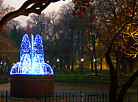 the winter fountain fountain of light in Krakow's Planty garden