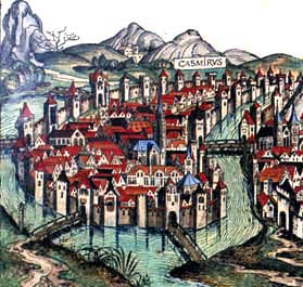 view of Kazimierz town in the late 15th century