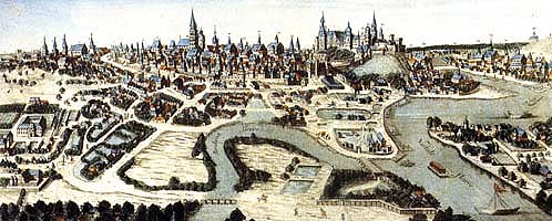 Panoramic view of Krakow in the 18th century