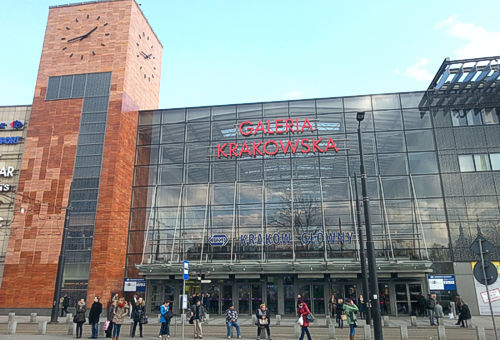 Entrance to the Krakow central train station leads through Galeria Krakowska shopping mall