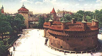Krakow's barbican and the city walls