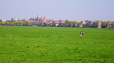 Blonia commons in Krakow, with the Wawel Royal castle in the background