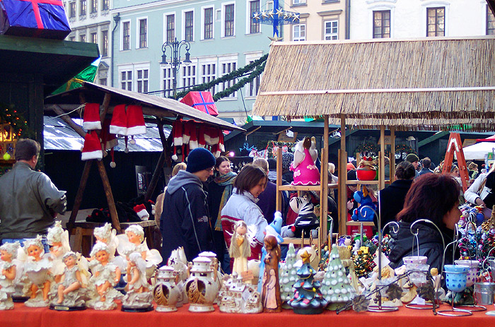 shopping at Christmas market in Krakow