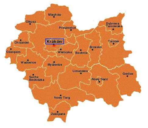 Map of Malopolska