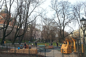 One of  playgrounds for kindergarten-age kids in the Planty gardens, Krakow.
