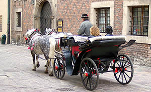 Touring old Krakow's streets in a carriage (Kanonicza street)