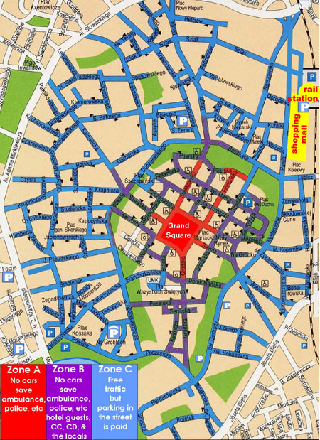 Krakow city center, map for drivers
