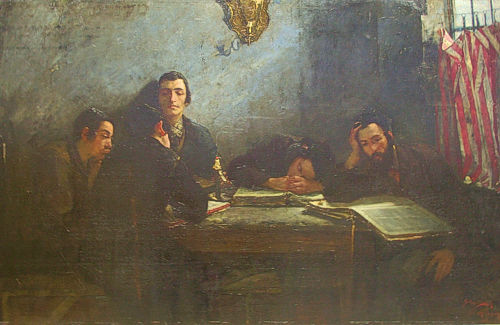 Samuel Hirszenberg's painting of 1887 showing a school of Talmudists