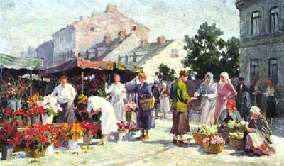 Painting of Krakow's Kleparz marketplace in 1930