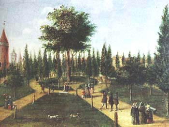 Planty gardens in Krakow, a 19th-century illustration