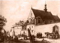 Krakow church of St. Casimir and the Reformed-Franciscan monastery in the mid 19th century
